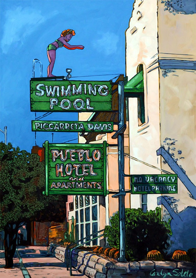 """""""Pueblo Hotel Tucson,"""" by Carolyn Sotelo, oil on canvas."""
