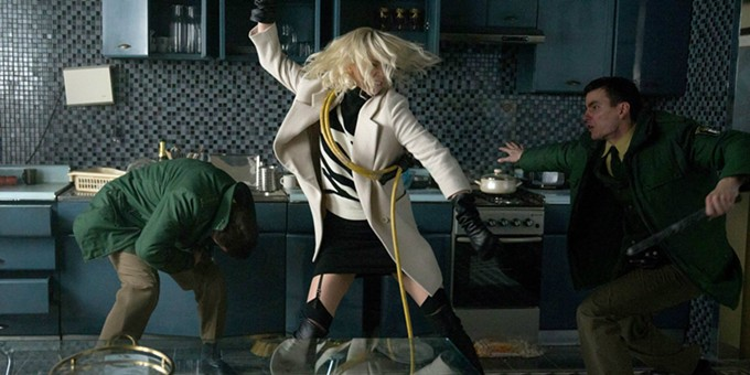 Charlize Theron flattens dudes in Atomic Blonde.