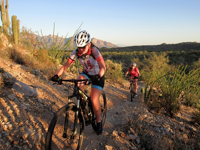 The Oro Valley Interscholastic Mountain Bike Team rides the Honeybee Trails in the summer of 2016.
