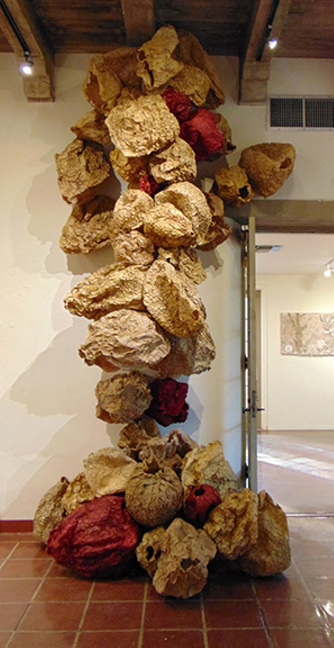 Monica Durazo, Migrants and Refugees: A Collaborative Installation with Photographer Chris Chandler; papier mache, sewing patterns, and gelatin.
