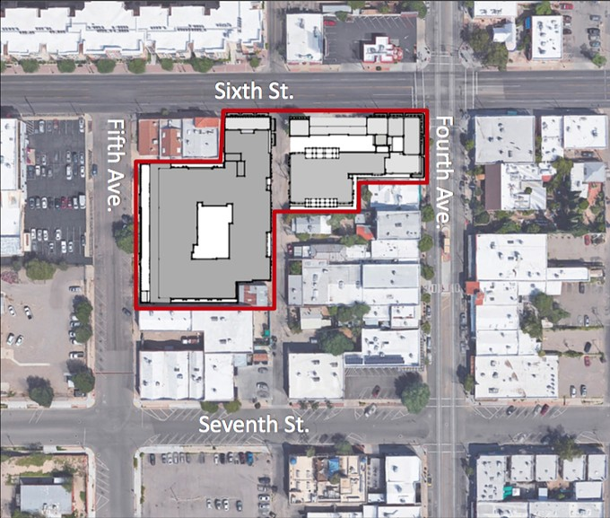 The development area is within the red line, with the exception of a historical home off the alley that will not be demolished.