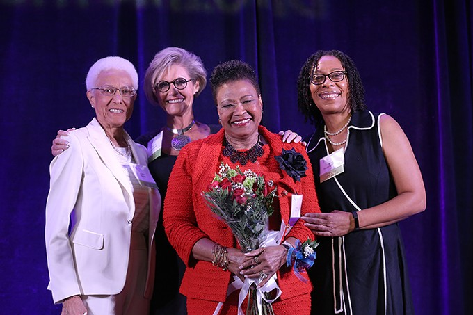 At last year's Southern Arizona Women's Foundation luncheon (left to right) Aubra Gaston, Lori Mackstaller, Wanda F. Moore (2017 Honoree) and Kendall Washington White.