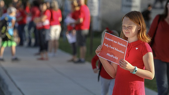 Across the state, teachers and proponents of additional education-funding participate in Wednesday morning walk-ins, possibly building momentum for a walk-out.