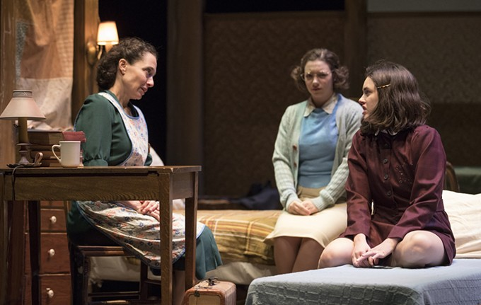 Naama Potok, Devon Prokopek, and Anna Lentz in ATC's Diary of Anne Frank.
