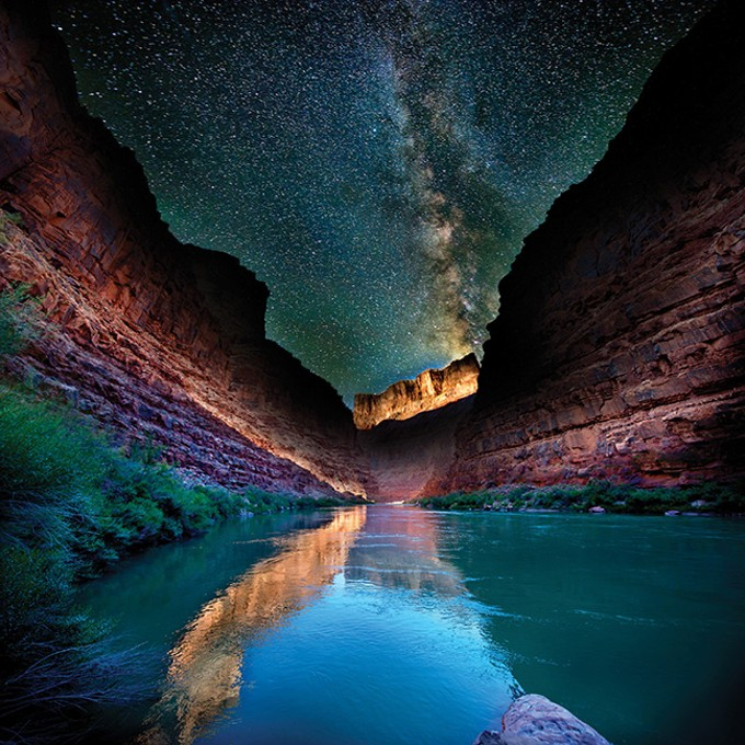 """Milky Way and Sunset on Cliffs, Looking Downstream at Mile 18 Camp, Grand Canyon,"" by William Lesch, 2014, archival pigment print, is part of Cielo, continuing at PCC's Louis Carlos Bernal Gallery through Oct. 5."