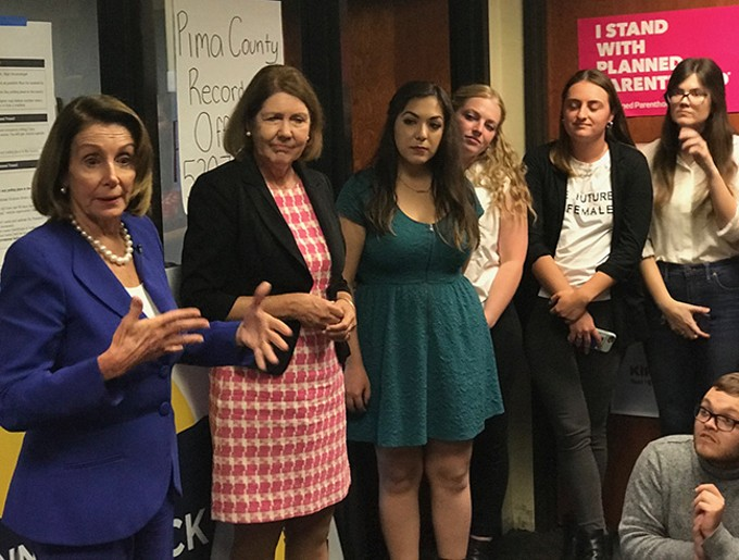 "House Minority Leader Nancy Pelosi: ""You can't, as a woman, turn away from the fight."""