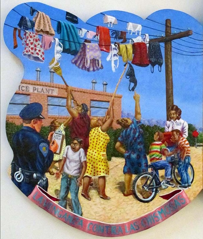 """Las Dilemas del Barrio Millville—1954,"" detail, by Alfred J. Quiroz, acrylic on panel"