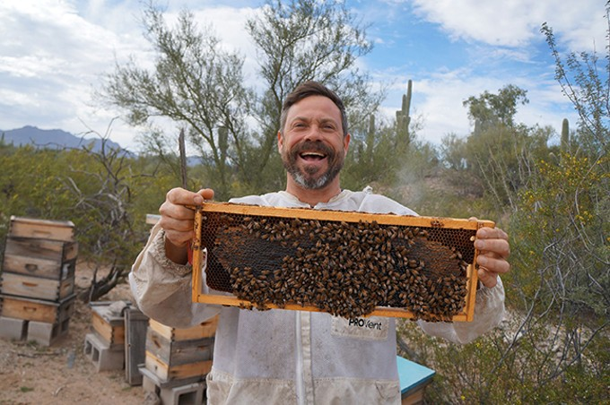 "Noel Patterson got a beehive from a friend and ""decided to take this weird gift to the next level."""