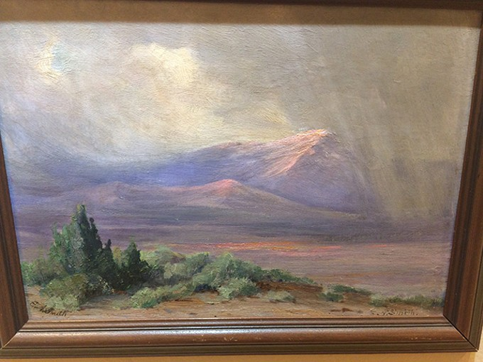 """Rain over Pearce"" by Effie Anderson Smith, undated oil on board."