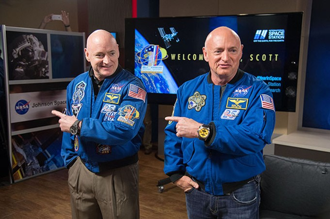 Idenitcal twins Scott, right, and Mark Kelly were the test subjects for a NASA study on how long periods of spaceflight affect the human body, with Mark on Earth while Scott spent almost a year in the International Space Station in 2015.