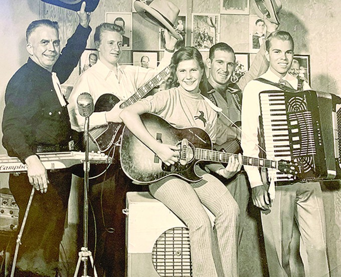 LaVerne and boys at Campbell's Music Studio, circa 1951.