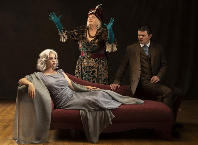 Holly Griffith as Elvira Condomine, Cynthia Meier as Madame Arcati, andRyan Parker Knox  as Charles Condomine.