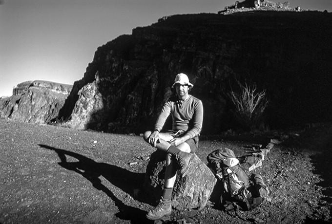 Charles Bowden, hiker, 1986