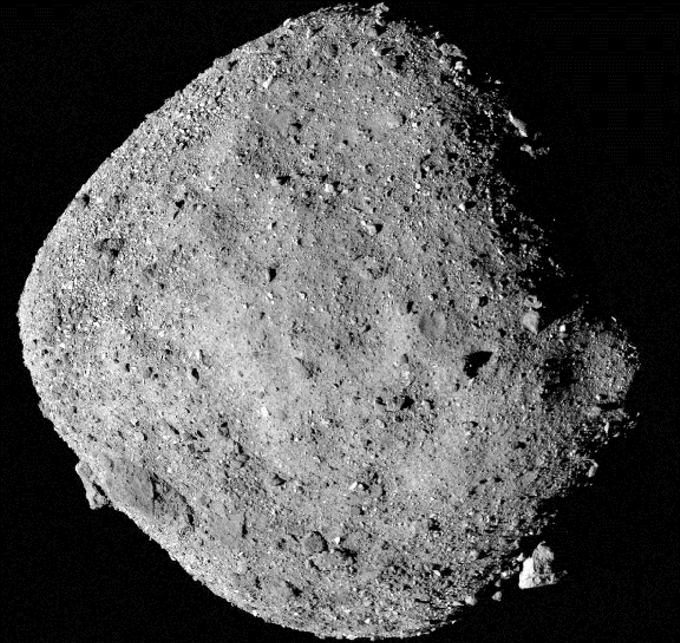 A closeup of Bennu, showing the asteroid's rough surface with many boulders.