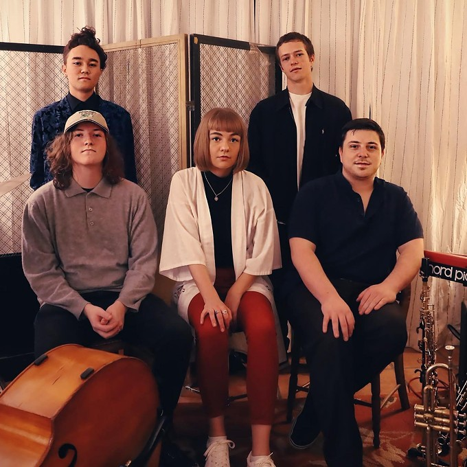 From top left: Kenji Ono (drums), Colin McIlrath (bass), Autumn Dominguez (saxophone), Jonathan Hines (piano), Max Goldschmid (trumpet)