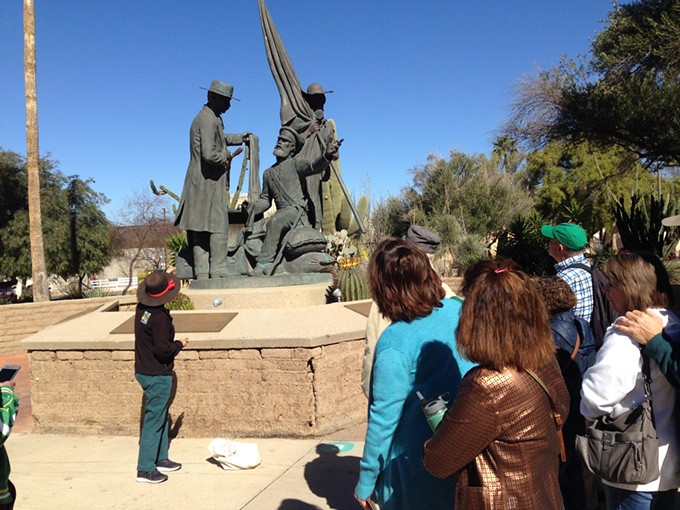 Attendees learn about many historic places and statues on the Turquoise Trail Walking Tour