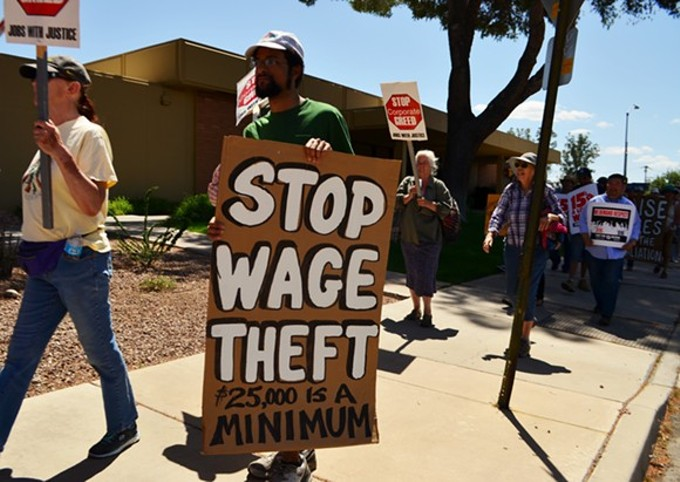 "Tucson's ""Fight For $15"" protest in April."