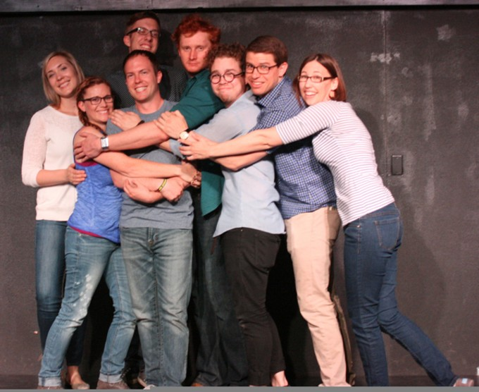 Tucson Improv Movement, left to right:Jessica Gregg, Catherine Bartlett, Justin Lukasewicz, Dan Kellish, Andrew Hatch, Michael Dean, Ben Dietzel, and Jessica Peck.