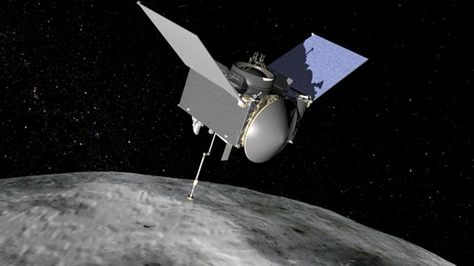 Artist's rendition of OSIRIS-REx in orbit around the asteroid Bennu.