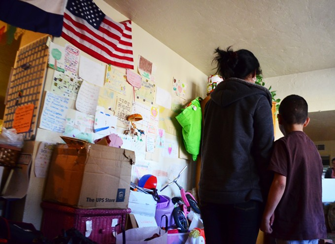 A woman and her 9-year-old son both natives of Honduras, have lived at Casa Alitas for more than two months.
