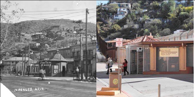 At the beginning of the 20th century, two small structures marked the divide between Nogales, Ariz., and Nogales, Sonora, at the Morley pedestrian gate. By 2015, the gate had been built up with a large dividing wall that loomed behind. Photo Postcard [Nogales, AZ], John Robert Carter Papers (MS 326), Folder 6, Special Collections, University of Arizona Libraries.