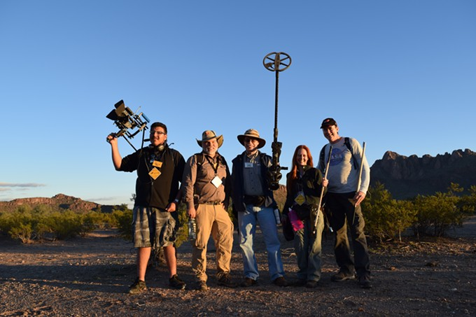 """""""We completely outfit these people as Indiana Jones-type adventurers and then I go out in the field with them,"""" says meteorite man Geoff Notkin (far right). """"I'm so confident that this is going to work that I guarantee everybody that they're going to find a meteorite and they get to keep whatever they find."""""""