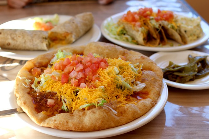 Frybread, tacos and burros for lunch at Café Santa Rosa.