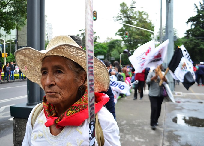 CNTE teachers and allies protesting Mexican government's education reform on the streets of Mexico City on July 11.