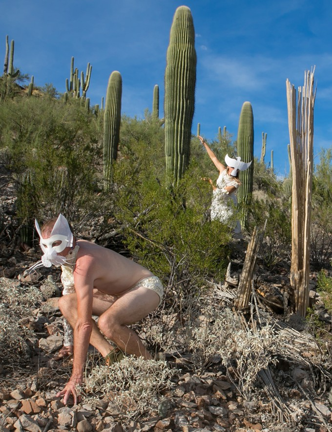 Dancers Greg Colburn and Kimi Eisele portray desert animals in A Whisper Through the Spines, a play in Saguaro National Park.