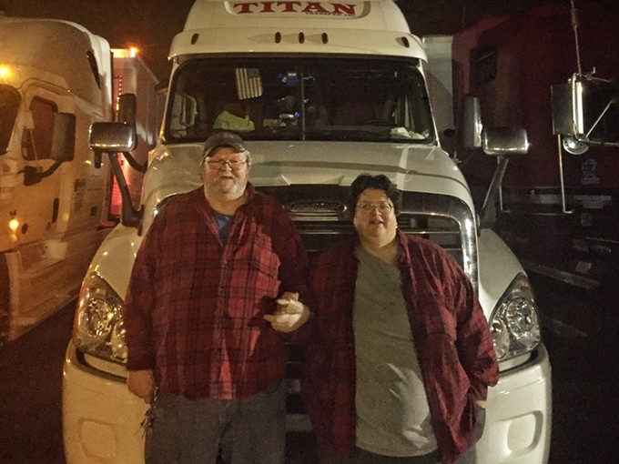 Bob and Irene Myers and their 2017 Freightliner 18-wheeler.