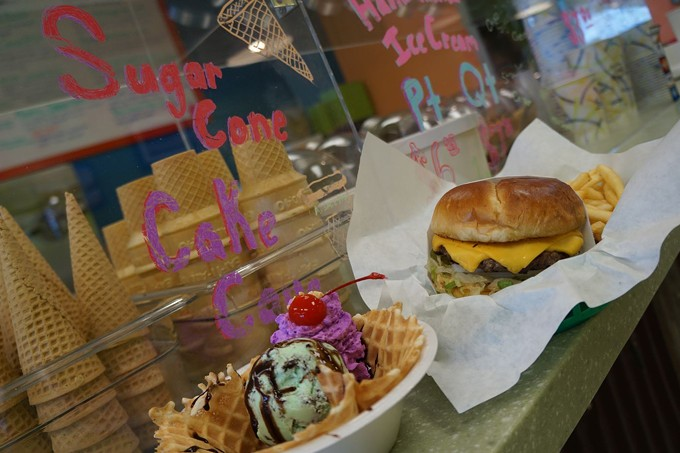 Atomic Frog specializes in old-fashioned affordable ice cream and burgers.