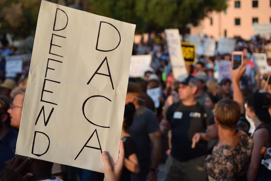 Protesters defend DACA in Tucson last fall, after Donald Trump ended the Obama-era protections for young immigrants. - DANYELLE KHMARA