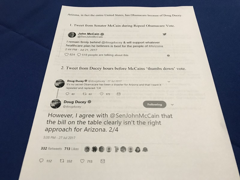 Tweets made by Sen. McCain and Gov. Ducey in opposition of the repeal were printed out and distributed to audience members during the event. - KATHLEEN B. KUNZ