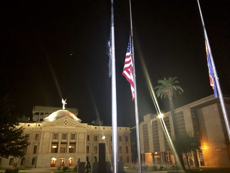 Gov. Doug Ducey ordered all flags flown at half-staff to honor Sen. John McCain, who died Aug. 25, 2018. - TAYLOR ROCHA/CRONKITE NEWS