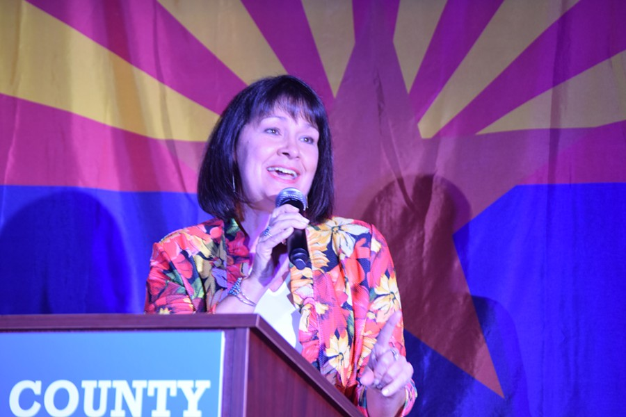 Victoria Steele speaking at the Pima County Democrats election party right after finding out she won the primary by a landslide. - DANYELLE KHMARA