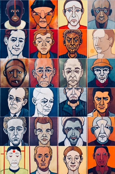 Untitled painted faces by Paul Sanasardo in The Many Sides of Sanasardo at the Temple of Music and Art. - COURTESY PHOTO