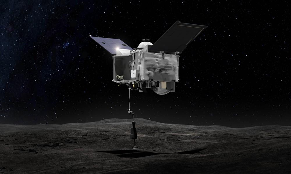 Artist's conception of OSIRIS-REx contacting Bennu's surface - NASA
