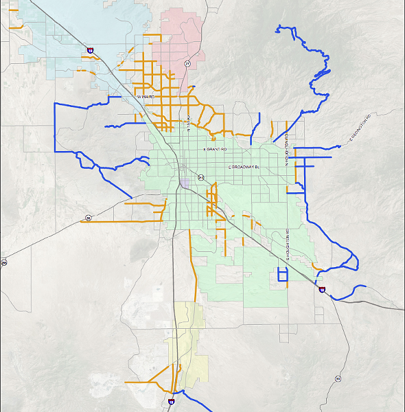 A map included in County Administrator Chuck Huckelberry's memo detailing which roads are eligible for repairs paid for by general fund revenues. - PIMA COUNTY MEMORANDUM
