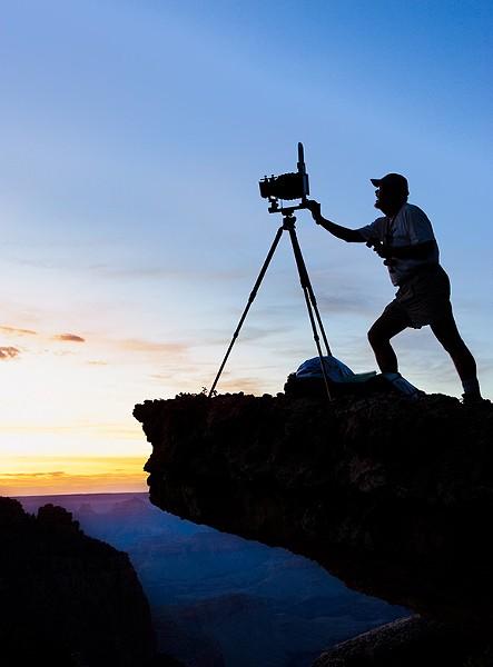 Photographer Jack Dykinga Photographs near the Sinking Ship on the Grand Canyon's South Rim at Sunset 2009 - JACK DYKINGA