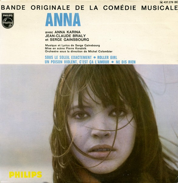 """""""Roller Girl"""" picture sleeve, Anna Karina and Serge Gainsbourg, 1967"""