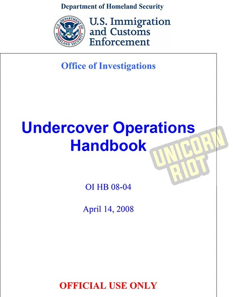 """An excerpt from an online handbook identified as ICE's Undercover Operations Handbook, which lays out for undercover agents """"possible justifications for otherwise illegal activity."""" (Photo courtesy of Unicorn Riot 2018)"""