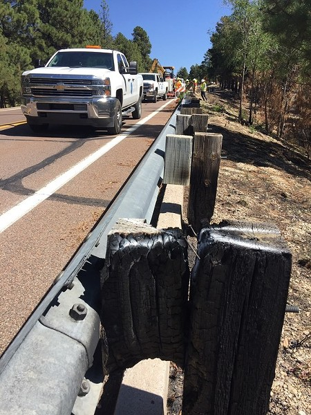 Guardrails damaged by the Bighorn Fire - COURTESY PIMA COUNTY DEPARTMENT OF TRANSPORTATION