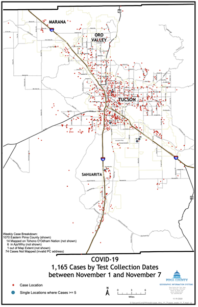 1,165 COVID-19 cases were reported in Pima County from Nov. 1-7. - NOVEMBER 10, 2020 - COVID-19 INFECTIONS IN PIMA COUNTY - UPDATE