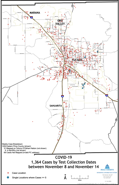 1,364 COVID-19 cases were reported in Pima County from Nov. 8-14. - NOVEMBER 17, 2020 - PRESENT COVID-19 INFECTION IN PIMA COUNTY AND ROLE OF FEDERAL PRISON IN THE CURRENT PANDEMIC