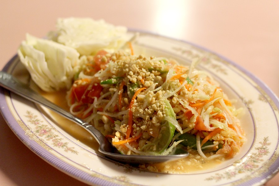 The papaya salad offers a bright, light option that doesn't skimp on flavor. - HEATHER HOCH