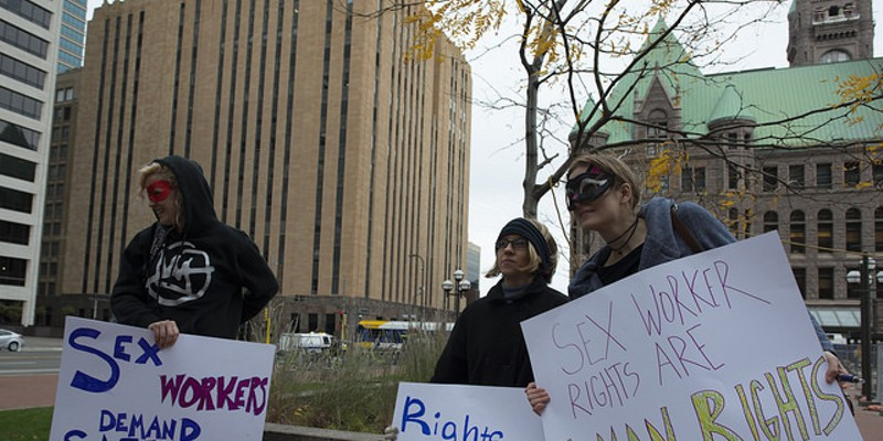 Sex Workers and their supporters gathered in Minneapolis to protest the recent raid and arrests at Backpage, in October 2016. Protesters say sites like Backpage.com allow them to work independently to screen clients and shutting them down exposes them to more risk.