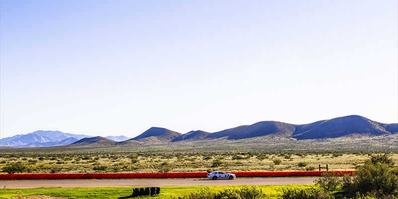 The backdrop of mountains provides a picturesque view of Inde Motorsports Ranch in Willcox.