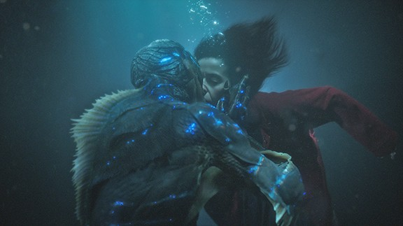 Sally Hawkins plays cleaning woman Elisa Esposito, who falls in love with imprisoned Amphibian Man.