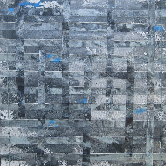"""Cropped photo of """"Again, Falling Blue (for Agnes M),"""" by C.J. Shane, mixed media, 2015."""