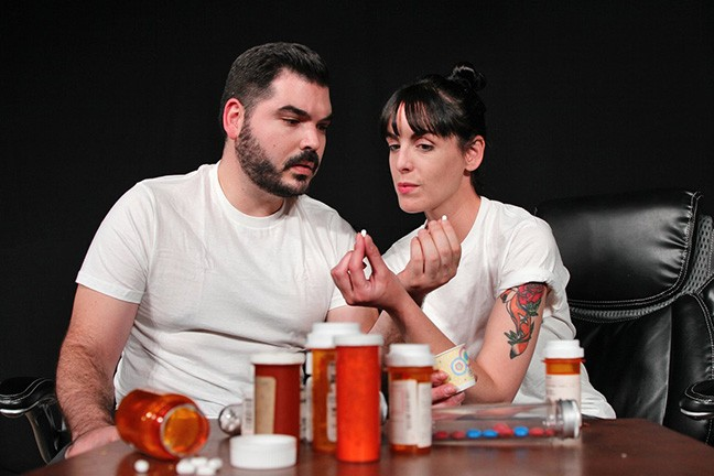 Emilee Foster (Connie) and Steve Wood (Tristan) muse over whether their love is real or just an experimental byproduct in The Effect.